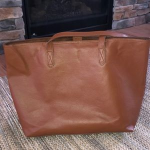 Old Navy cognac brown faux leather tote